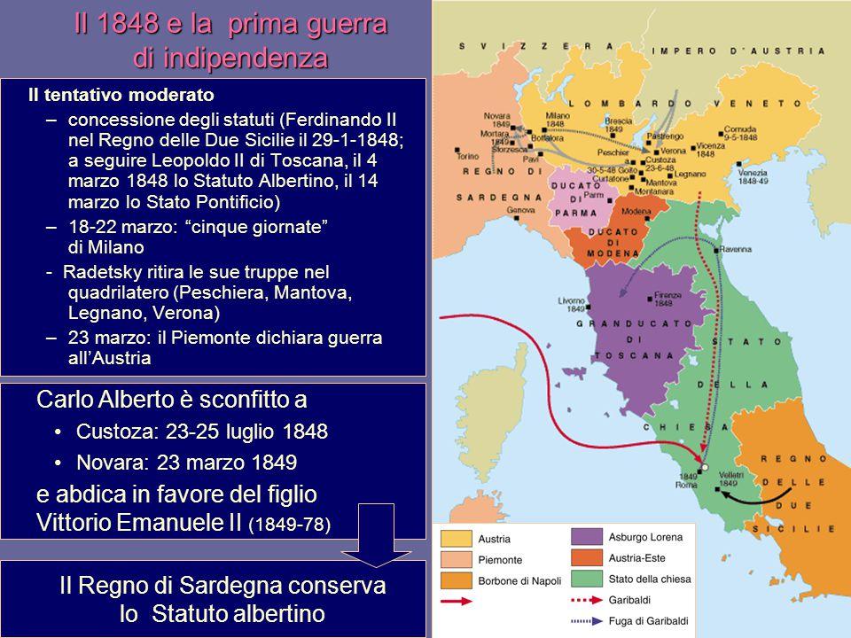 Il 1848 e la prima guerra di indipendenza Il tentativo moderato –concessione degli statuti (Ferdinando II nel Regno delle Due Sicilie il 29-1-1848; a seguire Leopoldo II di Toscana, il 4 marzo 1848 lo Statuto Albertino, il 14 marzo lo Stato Pontificio) –18-22 marzo: cinque giornate di Milano - Radetsky ritira le sue truppe nel quadrilatero (Peschiera, Mantova, Legnano, Verona) –23 marzo: il Piemonte dichiara guerra all'Austria Carlo Alberto è sconfitto a Custoza: 23-25 luglio 1848 Novara: 23 marzo 1849 e abdica in favore del figlio Vittorio Emanuele II (1849-78) Il Regno di Sardegna conserva lo Statuto albertino