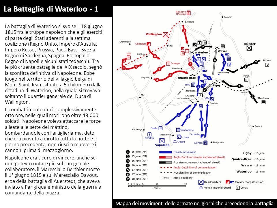 La battaglia di Waterloo si svolse il 18 giugno 1815 fra le truppe napoleoniche e gli eserciti di parte degli Stati aderenti alla settima coalizione (Regno Unito, Impero d Austria, Impero Russo, Prussia, Paesi Bassi, Svezia, Regno di Sardegna, Spagna, Portogallo, Regno di Napoli e alcuni stati tedeschi).
