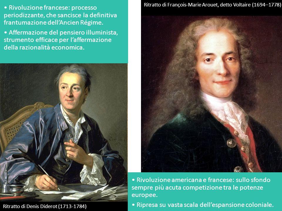 Ritratto di François-Marie Arouet, detto Voltaire (1694–1778) Ritratto di Denis Diderot (1713-1784) Rivoluzione francese: processo periodizzante, che sancisce la definitiva frantumazione dell'Ancien Régime.