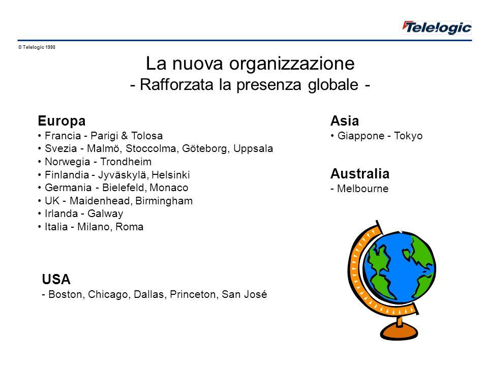 © Telelogic 1998 Presenza Globale Introduzione a Telelogic 1.4 Giappone Italia: Roma e Milano Svezia: Quartier Generale + 3 uff.