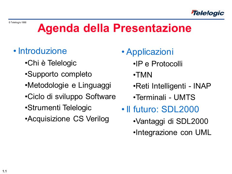 © Telelogic 1998 Sistemi 3G [UMTS/UE] - Standardizzazione 3GPP (TSG: RAN & T): Accordo con Ericsson, NEC, Siemens and Interdigital per la progettazione UMTS Telefoni GSM [GSM/MS] - Aselsan, Bosch, Ericsson, Siemens, NEC, Nokia, Telit ecc.