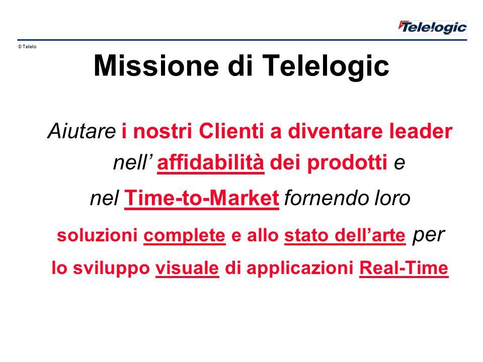 © Telelogic 1998 Missione di Telelogic Aiutare i nostri Clienti a diventare leader nell' affidabilità dei prodotti e nel Time-to-Market fornendo loro soluzioni complete e allo stato dell'arte per lo sviluppo visuale di applicazioni Real-Time
