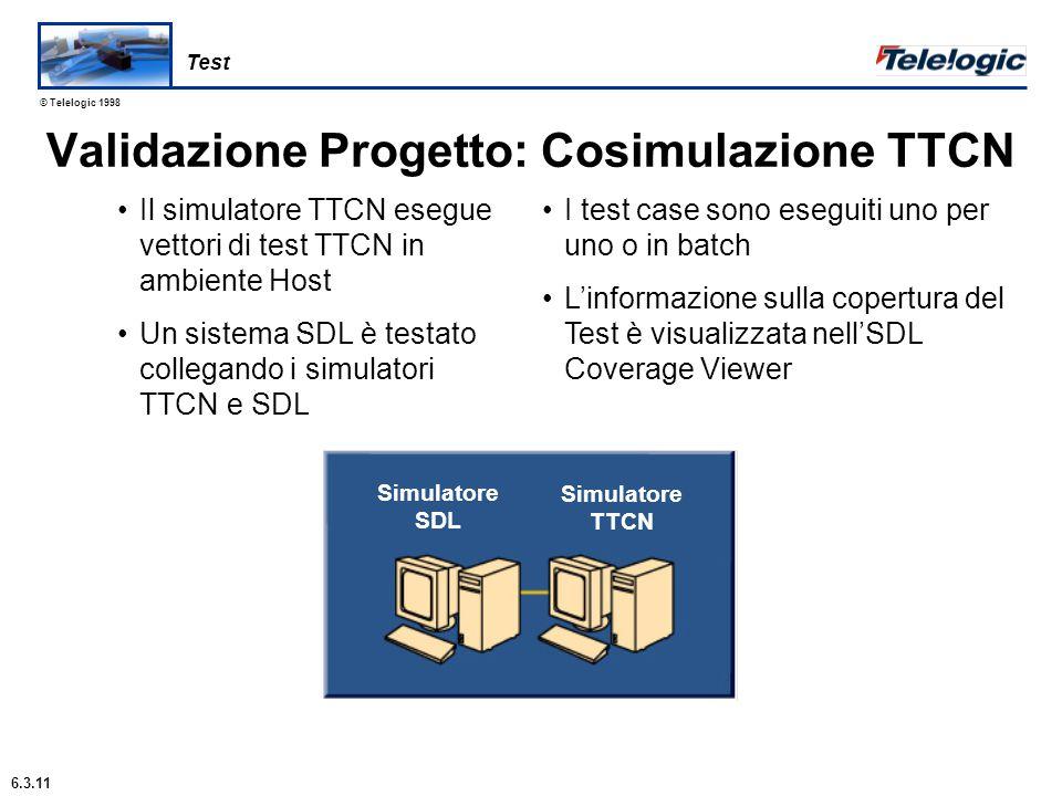 © Telelogic 1998 TTCN Concorrente Gestisce componenti di test in parallelo La sincronizzazione può essere esplicita L'esecuzione dei componenti di test è concorrente Permette avanzate architetture di test distribuite .