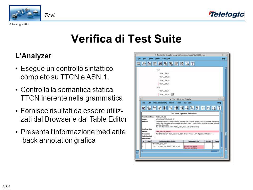 © Telelogic 1998 Generazione Test Suite Include unaesclusiva funzione di generazione completamente auto- matica di Test Suite pilotata da MSC Supporto per progettazione perso- nalizzata passo-passo di test case Viene assicurata la coerenza tra progetto e specifiche di test TTCN Link fornisce un ponte tra le specifiche di progetto in SDL e TTCN Test Suites complete, incluso dichiarazioni di dato e test case 6.5.4 Test