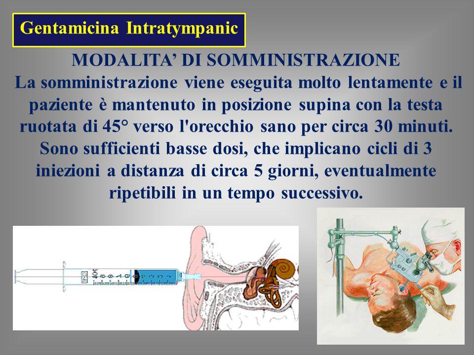 Gentamicina Intratympanic MODALITA' DI SOMMINISTRAZIONE La somministrazione viene eseguita molto lentamente e il paziente è mantenuto in posizione supina con la testa ruotata di 45° verso l orecchio sano per circa 30 minuti.
