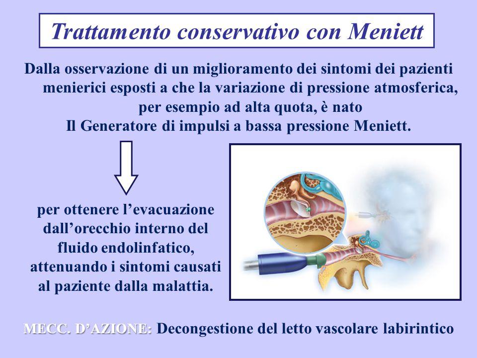 Trattamento conservativo con Meniett Dalla osservazione di un miglioramento dei sintomi dei pazienti menierici esposti a che la variazione di pressione atmosferica, per esempio ad alta quota, è nato Il Generatore di impulsi a bassa pressione Meniett.