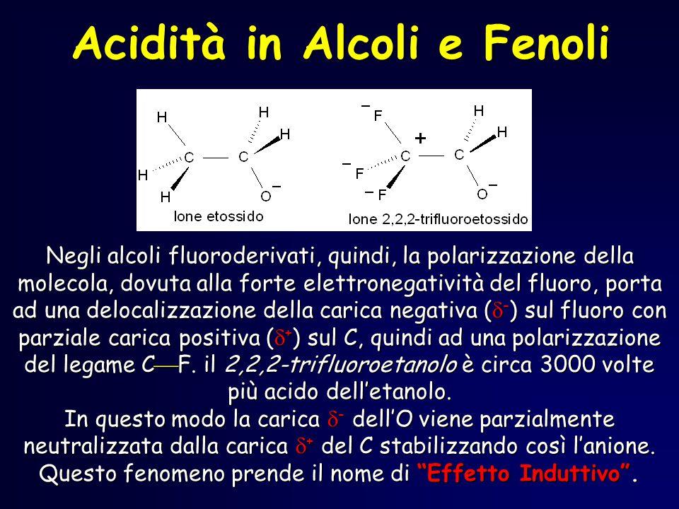 Negli alcoli fluoroderivati, quindi, la polarizzazione della molecola, dovuta alla forte elettronegatività del fluoro, porta ad una delocalizzazione d