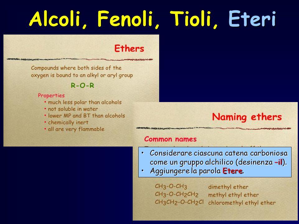 Alcoli, Fenoli, Tioli, Eteri Considerare ciascuna catena carboniosa come un gruppo alchilico (desinenza –il).Considerare ciascuna catena carboniosa co