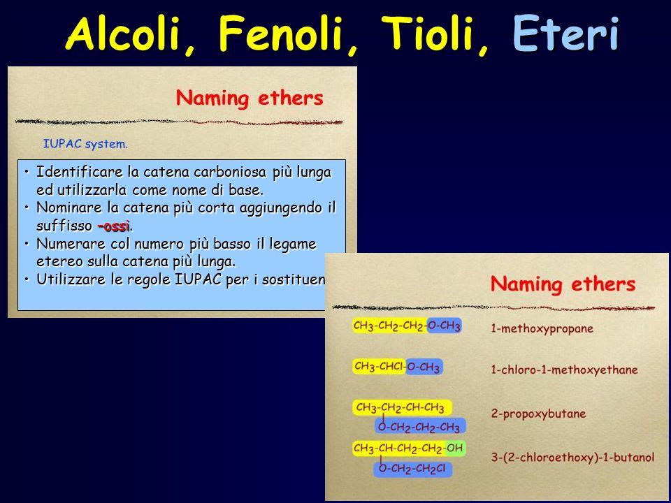 Alcoli, Fenoli, Tioli, Eteri Identificare la catena carboniosa più lunga ed utilizzarla come nome di base.Identificare la catena carboniosa più lunga