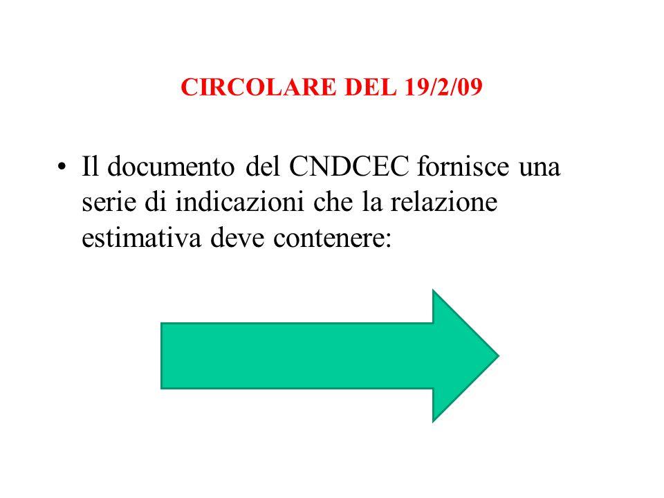 CIRCOLARE DEL 19/2/09 Il documento del CNDCEC fornisce una serie di indicazioni che la relazione estimativa deve contenere: