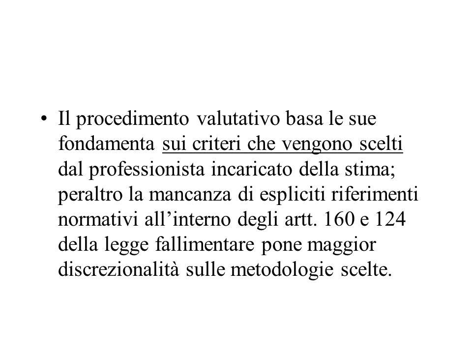 Il procedimento valutativo basa le sue fondamenta sui criteri che vengono scelti dal professionista incaricato della stima; peraltro la mancanza di espliciti riferimenti normativi all'interno degli artt.
