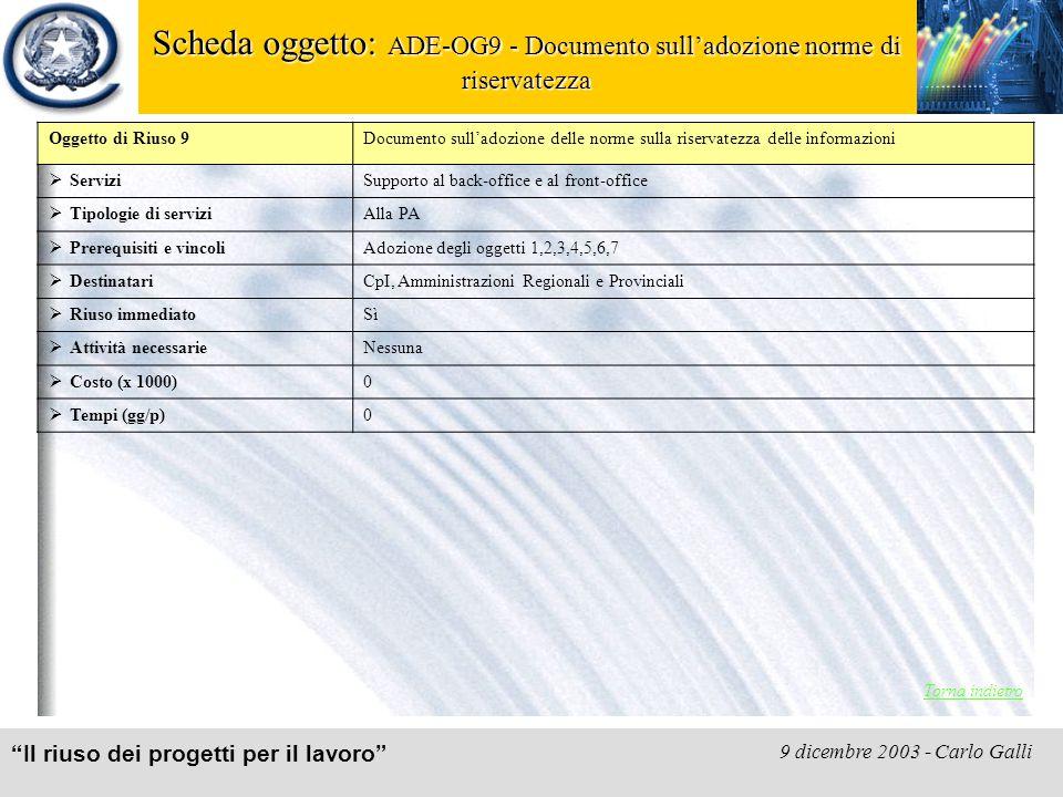 """""""Il riuso dei progetti per il lavoro"""" 9 dicembre 2003 - Carlo Galli Scheda oggetto: ADE-OG9 - Documento sull'adozione norme di riservatezza Torna indi"""