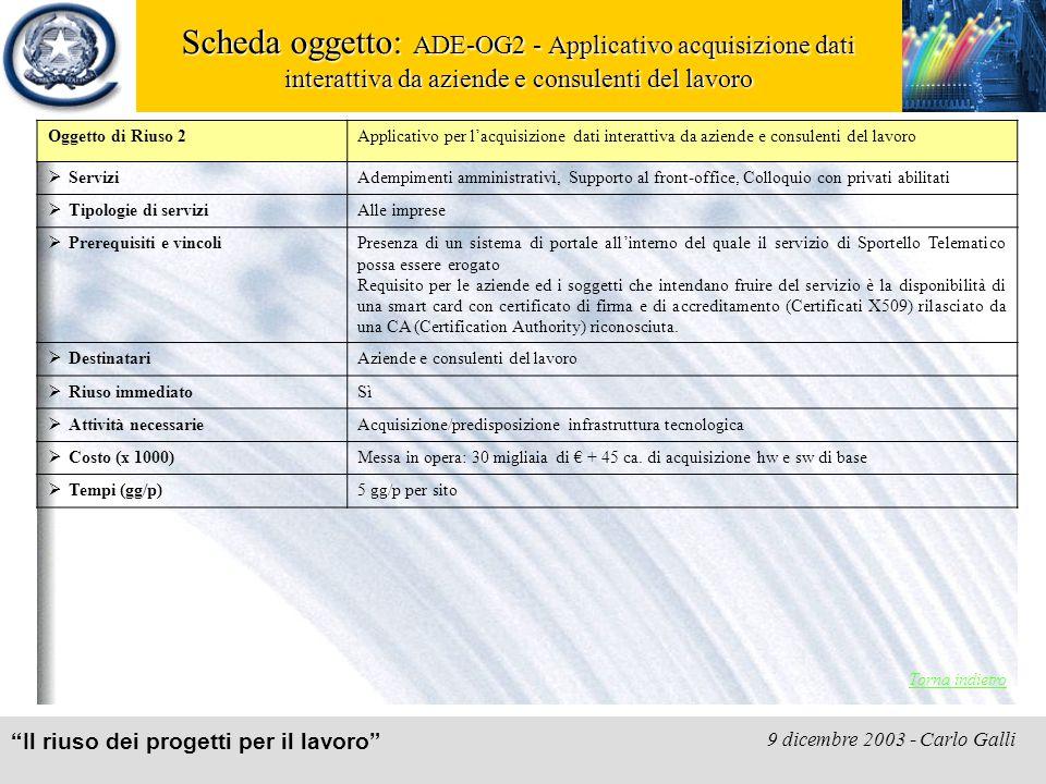 """""""Il riuso dei progetti per il lavoro"""" 9 dicembre 2003 - Carlo Galli Scheda oggetto: ADE-OG2 - Applicativo acquisizione dati interattiva da aziende e c"""