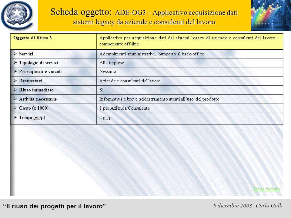 """""""Il riuso dei progetti per il lavoro"""" 9 dicembre 2003 - Carlo Galli Scheda oggetto: ADE-OG3 - Applicativo acquisizione dati sistemi legacy da aziende"""