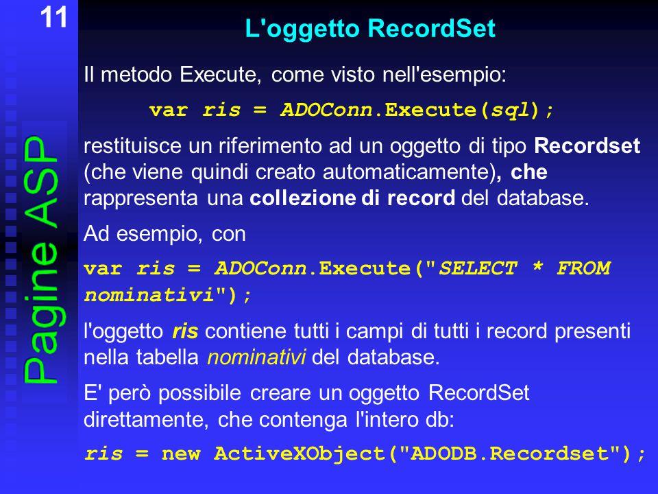 11 L oggetto RecordSet Il metodo Execute, come visto nell esempio: var ris = ADOConn.Execute(sql); restituisce un riferimento ad un oggetto di tipo Recordset (che viene quindi creato automaticamente), che rappresenta una collezione di record del database.