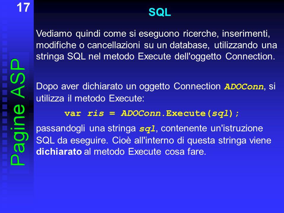 17 SQL Vediamo quindi come si eseguono ricerche, inserimenti, modifiche o cancellazioni su un database, utilizzando una stringa SQL nel metodo Execute dell oggetto Connection.