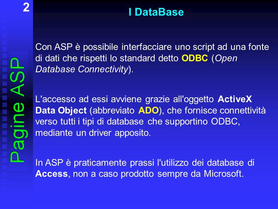 3 I DataBase ADO contiene: 7 oggetti: Connection Command Parameter Recordset Field Property Error 4 collezioni: Fields Properties Parameters Errors