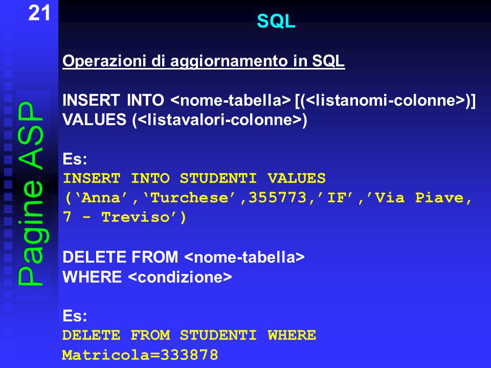 21 SQL Operazioni di aggiornamento in SQL INSERT INTO [( )] VALUES ( ) Es: INSERT INTO STUDENTI VALUES ('Anna','Turchese',355773,'IF','Via Piave, 7 - Treviso') DELETE FROM WHERE Es: DELETE FROM STUDENTI WHERE Matricola=333878