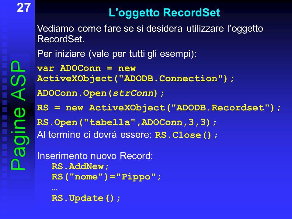 27 L oggetto RecordSet Vediamo come fare se si desidera utilizzare l oggetto RecordSet.