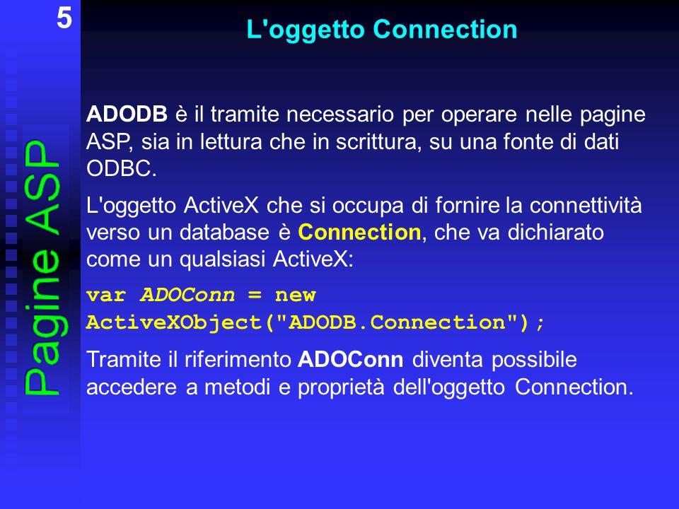 6 L oggetto Connection L oggetto Connection possiede numerose proprietà e metodi, tra i quali più importanti sono: Proprietà: ConnectionString(Contiene le informazioni utilizzate per stabilire una connessione a una fonte dati) Metodi: Open(Apre una connessione a una fonte dati) Execute (Esegue la particolare istruzione SQL passata al metodo mediante un parametro stringa) Close(Chiude un oggetto aperto)