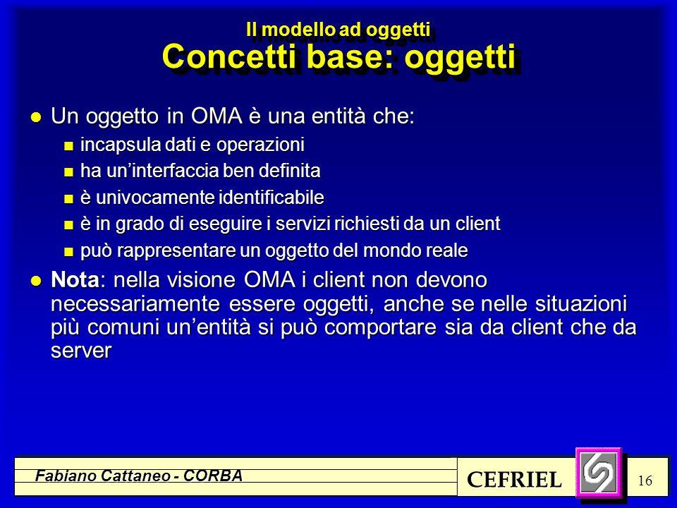 CEFRIEL Fabiano Cattaneo - CORBA 16 l Un oggetto in OMA è una entità che: n incapsula dati e operazioni n ha un'interfaccia ben definita n è univocame