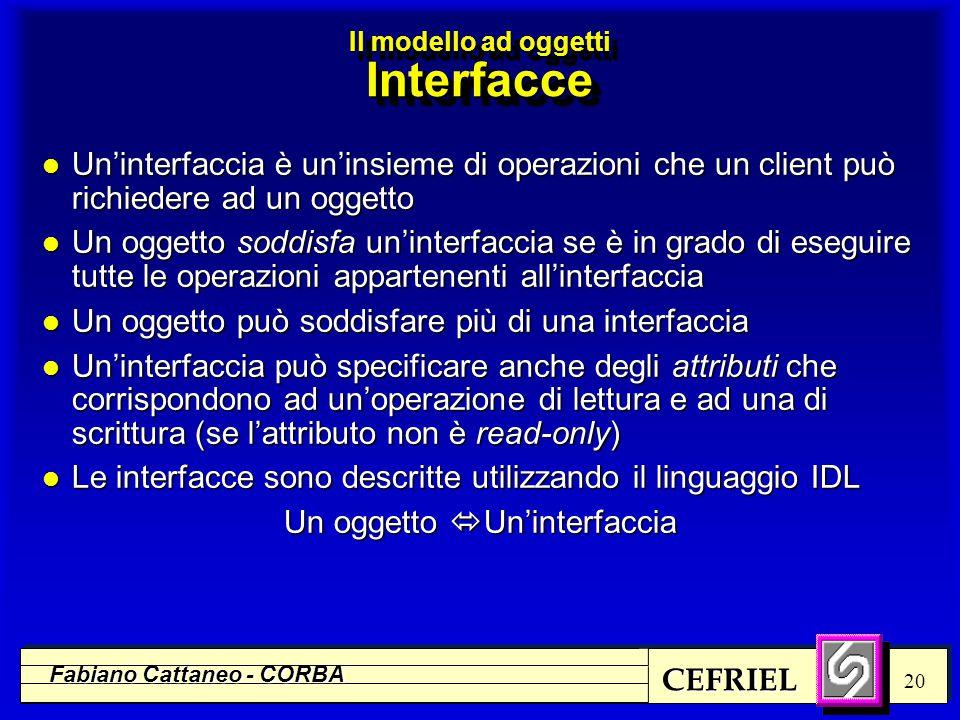 CEFRIEL Fabiano Cattaneo - CORBA 20 l Un'interfaccia è un'insieme di operazioni che un client può richiedere ad un oggetto l Un oggetto soddisfa un'in