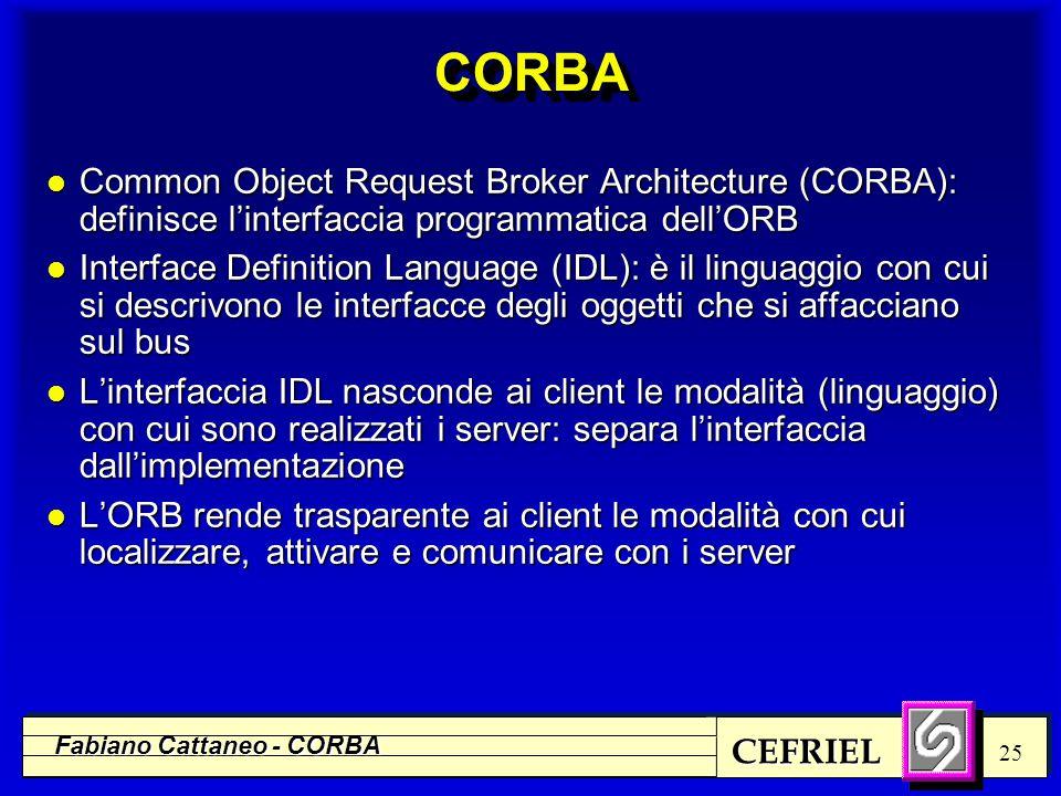 CEFRIEL Fabiano Cattaneo - CORBA 25 CORBACORBA l Common Object Request Broker Architecture (CORBA): definisce l'interfaccia programmatica dell'ORB l I