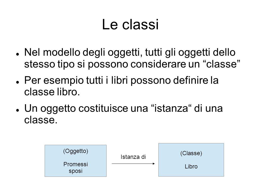 Le classi Nel modello degli oggetti, tutti gli oggetti dello stesso tipo si possono considerare un classe Per esempio tutti i libri possono definire la classe libro.