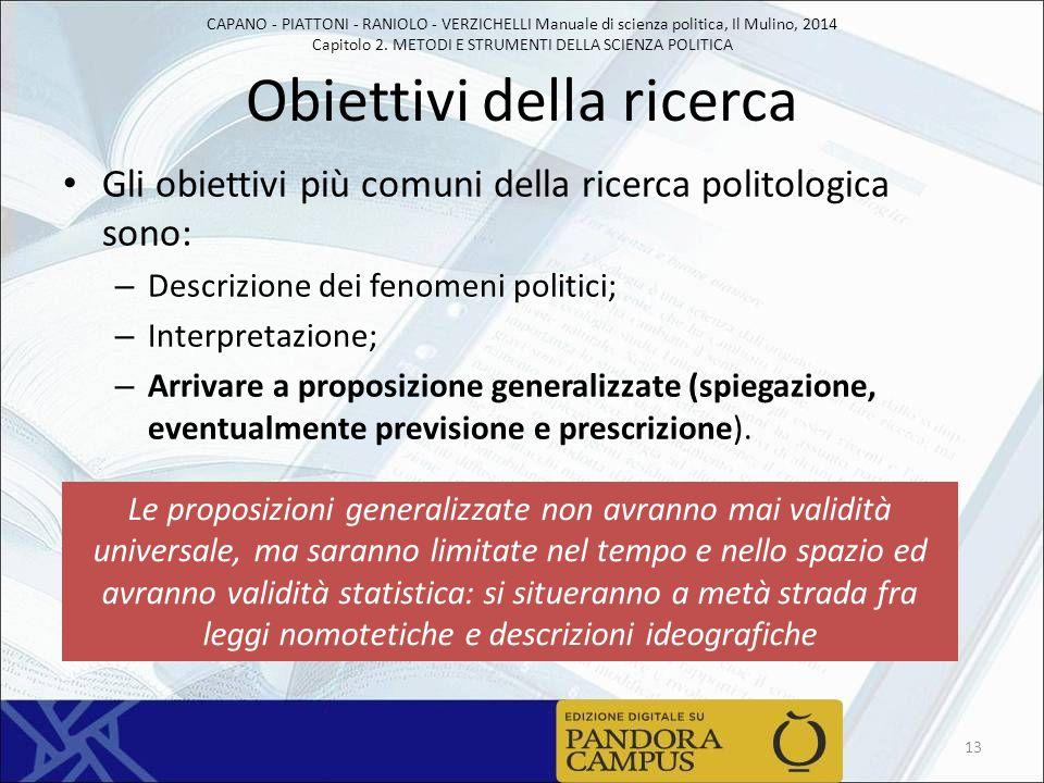 CAPANO - PIATTONI - RANIOLO - VERZICHELLI Manuale di scienza politica, Il Mulino, 2014 Capitolo 2. METODI E STRUMENTI DELLA SCIENZA POLITICA Obiettivi