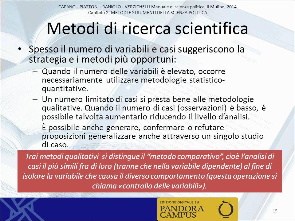 CAPANO - PIATTONI - RANIOLO - VERZICHELLI Manuale di scienza politica, Il Mulino, 2014 Capitolo 2. METODI E STRUMENTI DELLA SCIENZA POLITICA Metodi di