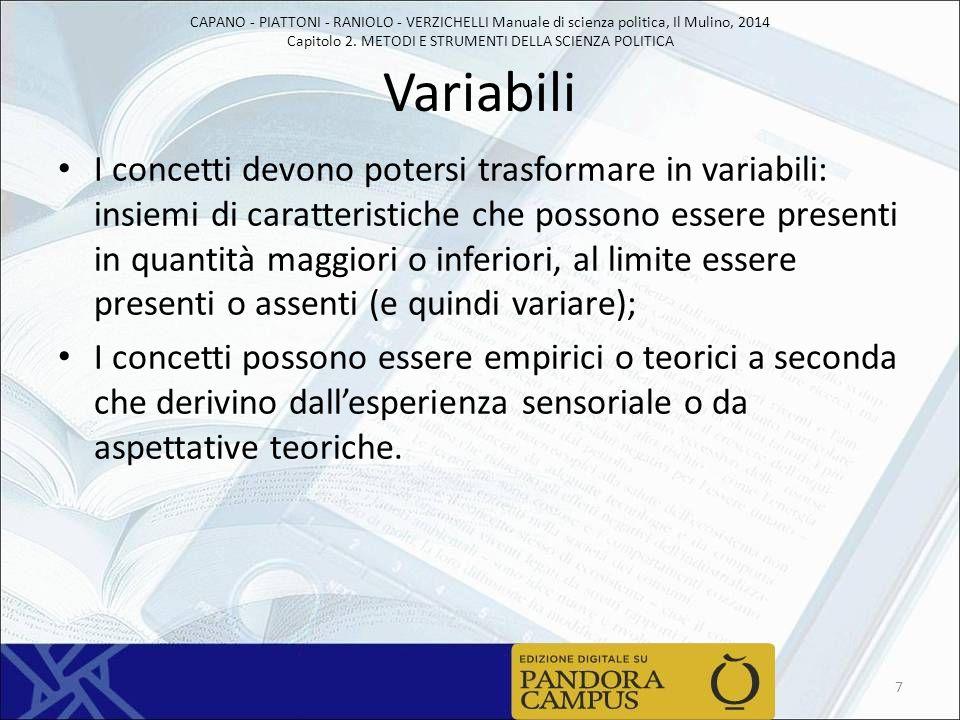 CAPANO - PIATTONI - RANIOLO - VERZICHELLI Manuale di scienza politica, Il Mulino, 2014 Capitolo 2. METODI E STRUMENTI DELLA SCIENZA POLITICA Variabili