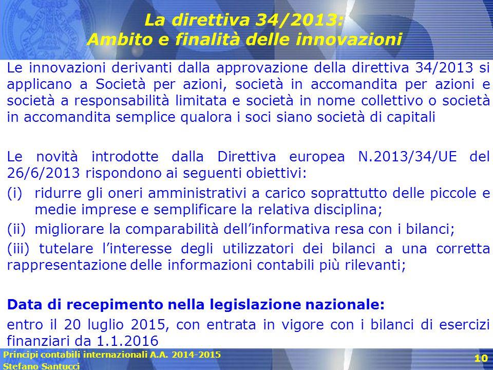 Principi contabili internazionali A.A. 2014-2015 Stefano Santucci 10 La direttiva 34/2013: Ambito e finalità delle innovazioni Le innovazioni derivant