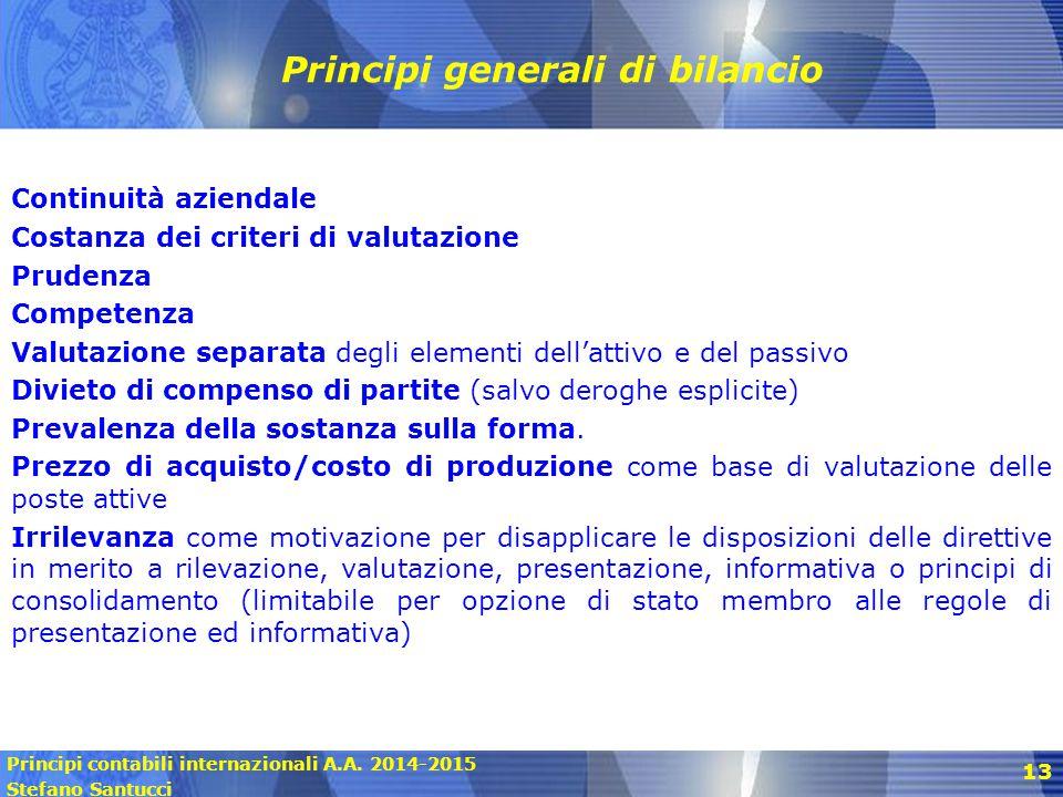 Principi contabili internazionali A.A. 2014-2015 Stefano Santucci 13 Principi generali di bilancio Continuità aziendale Costanza dei criteri di valuta