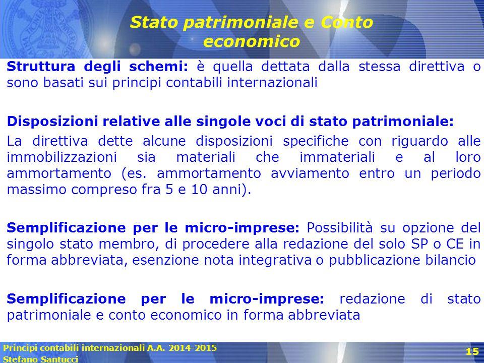 Principi contabili internazionali A.A. 2014-2015 Stefano Santucci 15 Stato patrimoniale e Conto economico Struttura degli schemi: è quella dettata dal