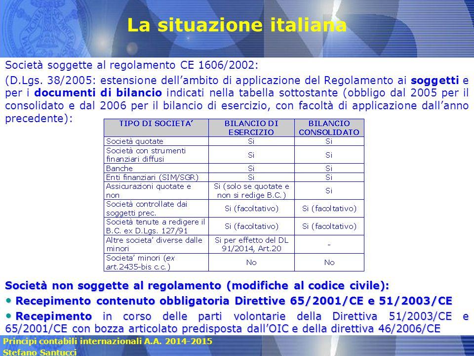 Principi contabili internazionali A.A. 2014-2015 Stefano Santucci La situazione italiana Società soggette al regolamento CE 1606/2002: (D.Lgs. 38/2005