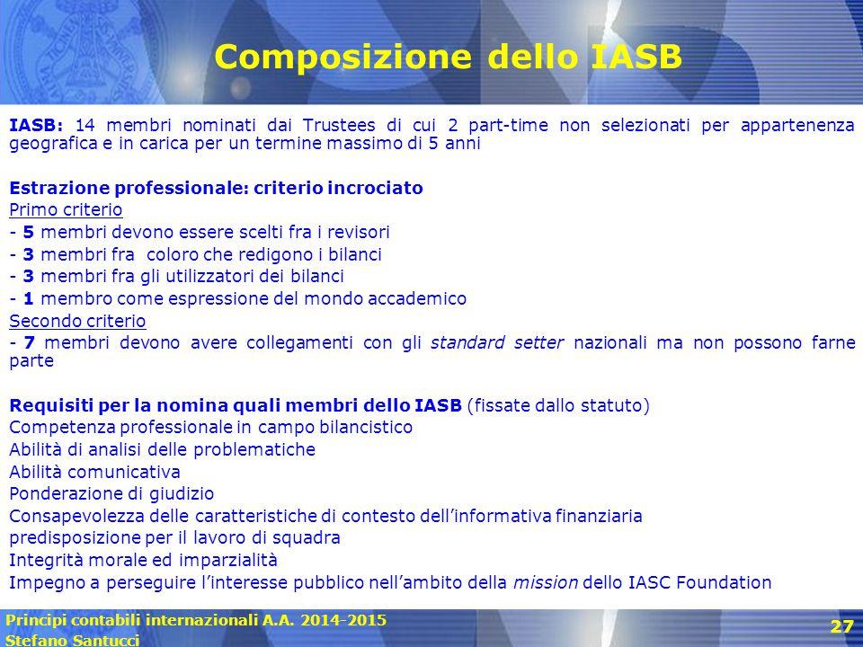 Principi contabili internazionali A.A. 2014-2015 Stefano Santucci 27 Composizione dello IASB IASB: 14 membri nominati dai Trustees di cui 2 part-time