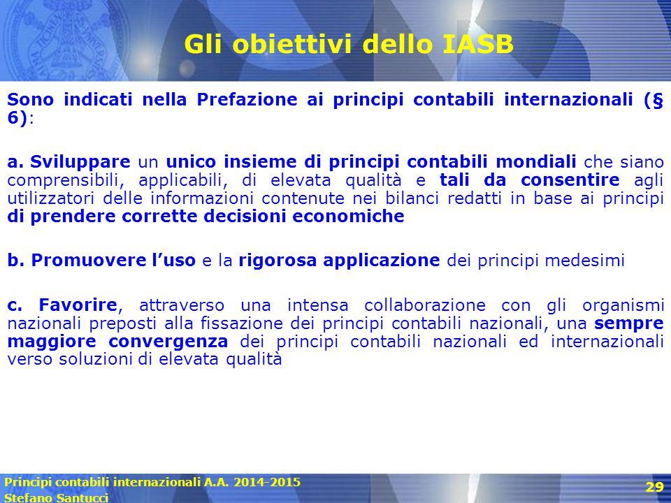 Principi contabili internazionali A.A. 2014-2015 Stefano Santucci 29 Gli obiettivi dello IASB Sono indicati nella Prefazione ai principi contabili int