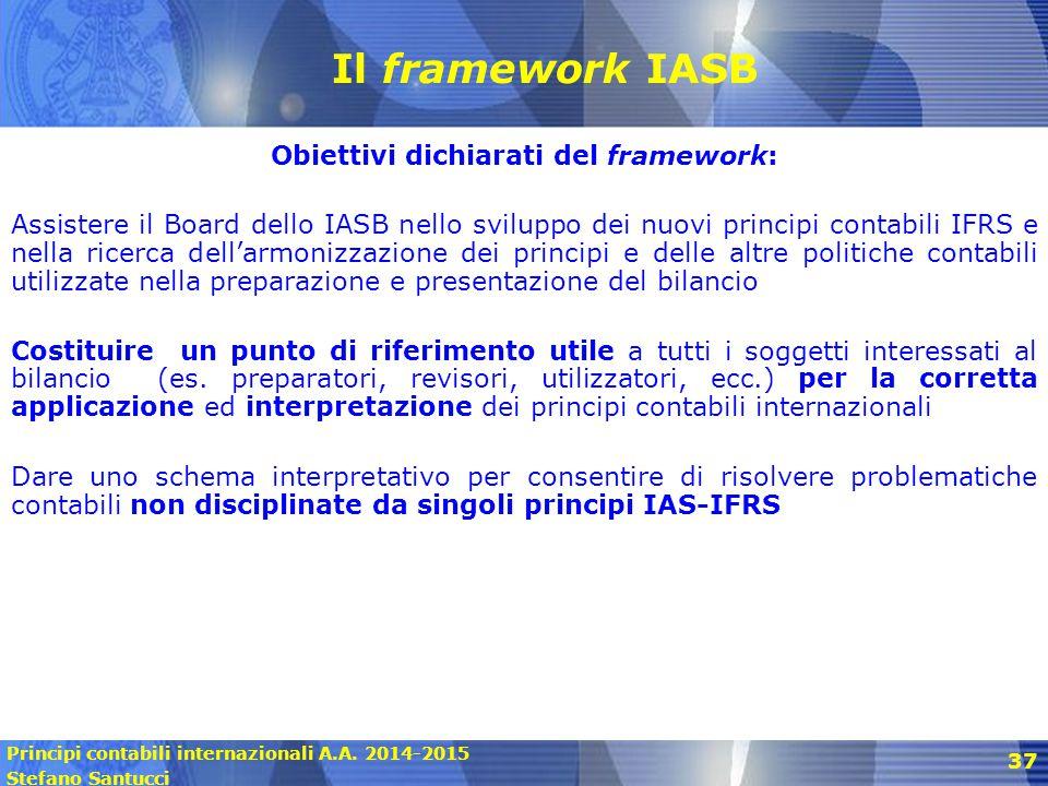 Principi contabili internazionali A.A. 2014-2015 Stefano Santucci 37 Il framework IASB Obiettivi dichiarati del framework: Assistere il Board dello IA