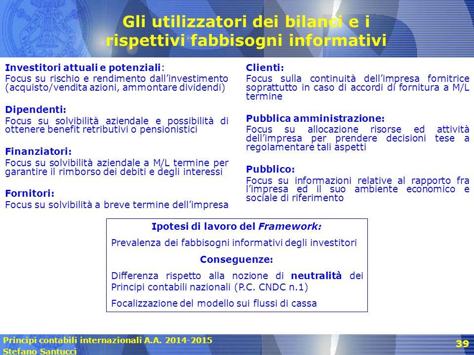 Principi contabili internazionali A.A. 2014-2015 Stefano Santucci 39 Gli utilizzatori dei bilanci e i rispettivi fabbisogni informativi Investitori at