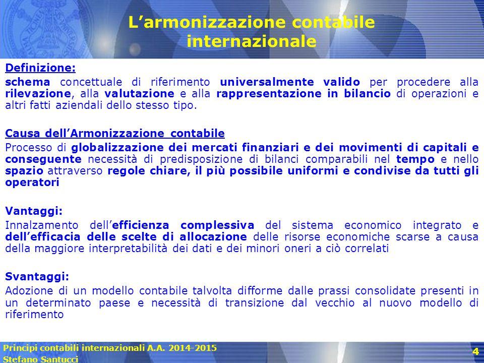 Principi contabili internazionali A.A. 2014-2015 Stefano Santucci 4 Definizione: schema concettuale di riferimento universalmente valido per procedere