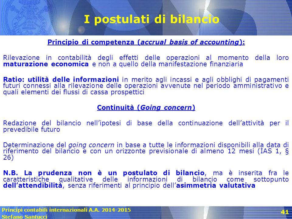 Principi contabili internazionali A.A. 2014-2015 Stefano Santucci 41 I postulati di bilancio Principio di competenza (accrual basis of accounting): Ri
