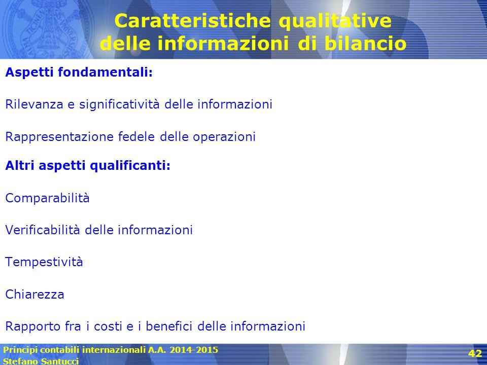 Principi contabili internazionali A.A. 2014-2015 Stefano Santucci 42 Caratteristiche qualitative delle informazioni di bilancio Aspetti fondamentali: