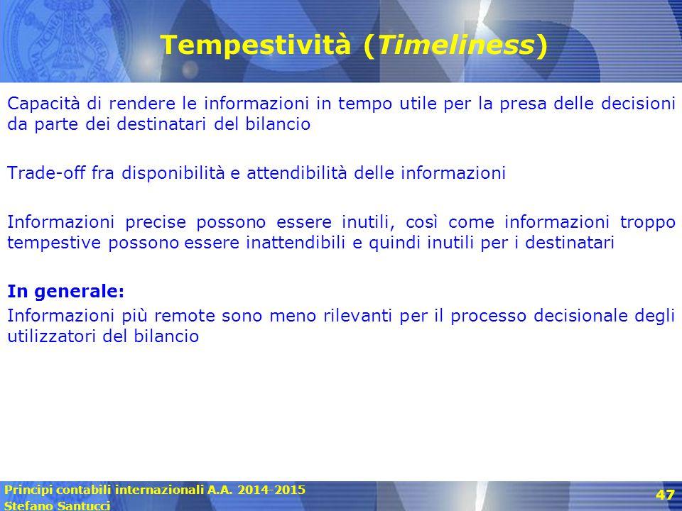 Principi contabili internazionali A.A. 2014-2015 Stefano Santucci Tempestività (Timeliness) Capacità di rendere le informazioni in tempo utile per la