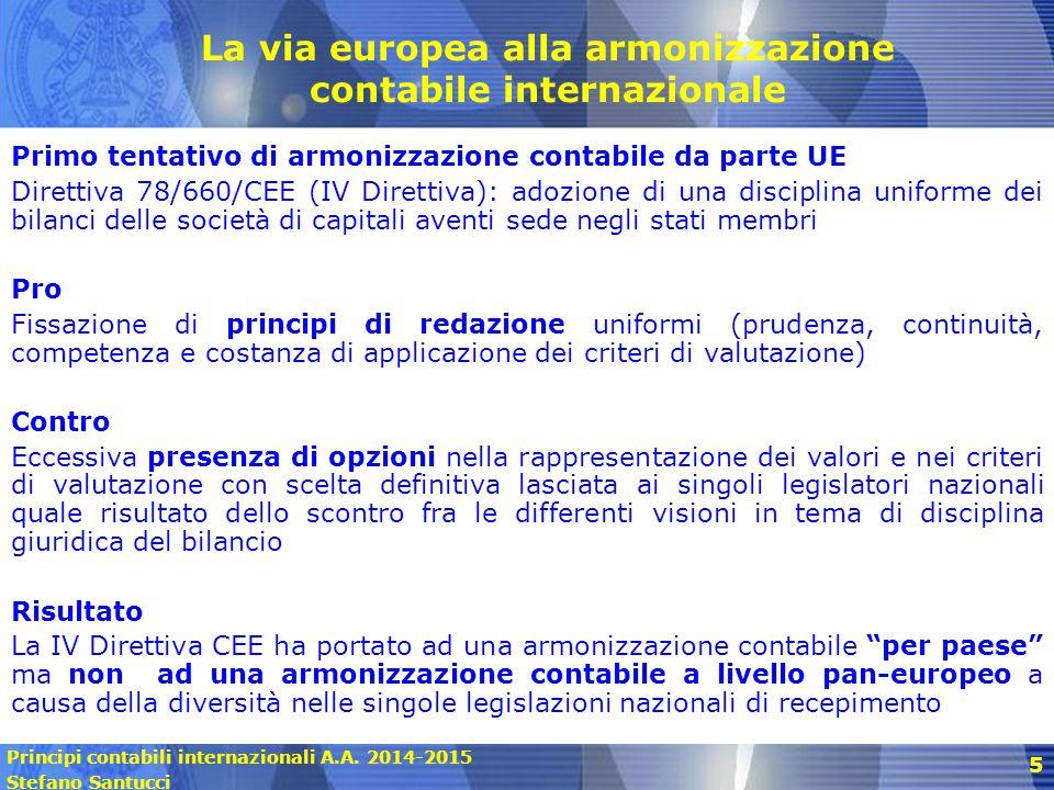 Principi contabili internazionali A.A. 2014-2015 Stefano Santucci 5 La via europea alla armonizzazione contabile internazionale Primo tentativo di arm