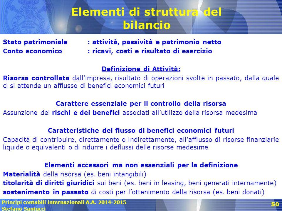 Principi contabili internazionali A.A. 2014-2015 Stefano Santucci 50 Elementi di struttura del bilancio Stato patrimoniale: attività, passività e patr