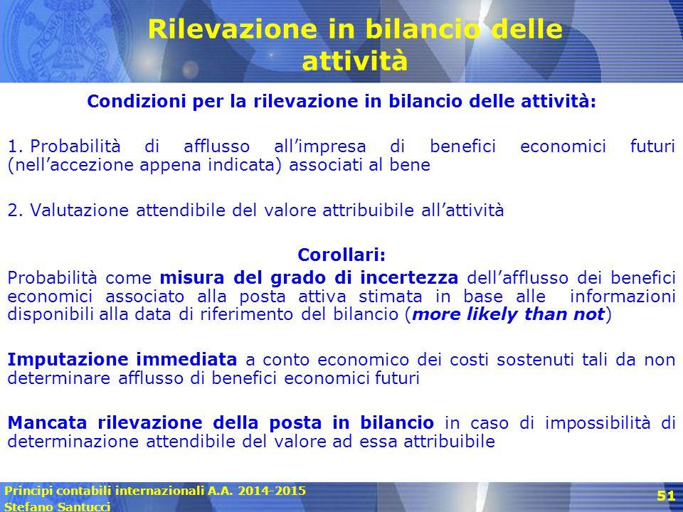 Principi contabili internazionali A.A. 2014-2015 Stefano Santucci 51 Rilevazione in bilancio delle attività Condizioni per la rilevazione in bilancio