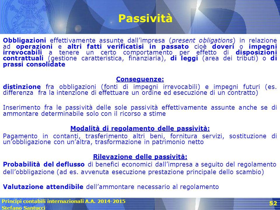 Principi contabili internazionali A.A. 2014-2015 Stefano Santucci 52 Passività Obbligazioni effettivamente assunte dall'impresa (present obligations)