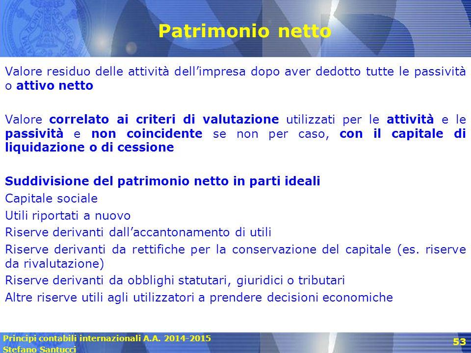 Principi contabili internazionali A.A. 2014-2015 Stefano Santucci 53 Patrimonio netto Valore residuo delle attività dell'impresa dopo aver dedotto tut