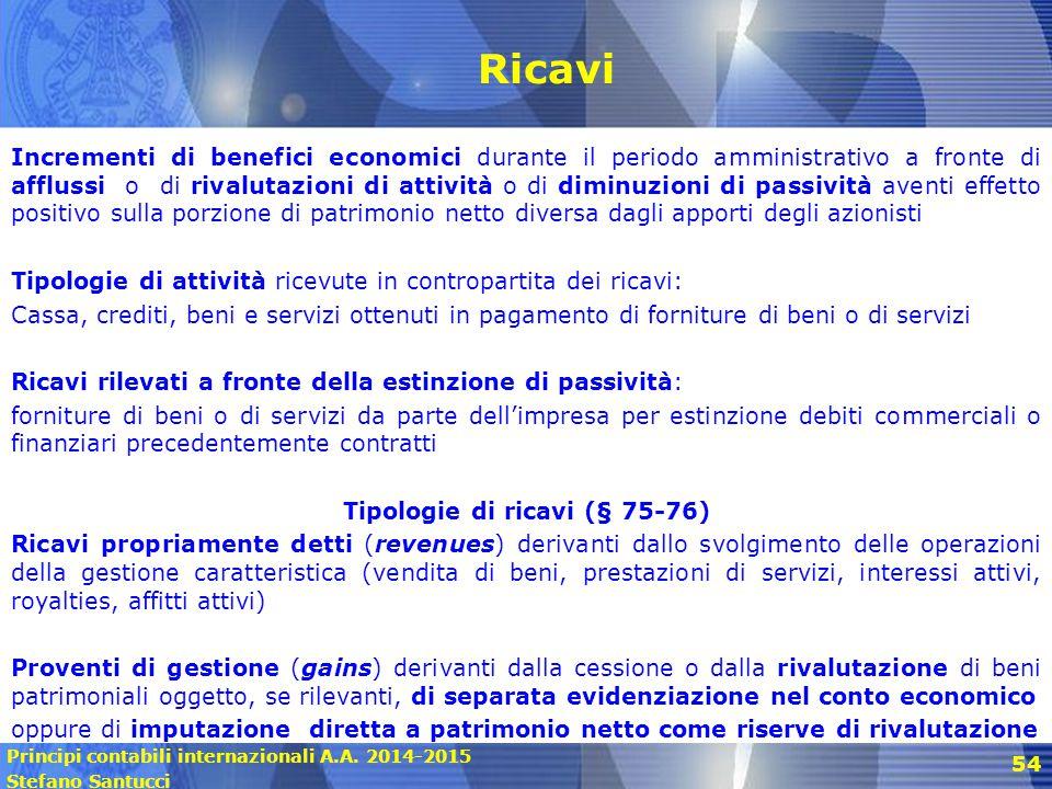 Principi contabili internazionali A.A. 2014-2015 Stefano Santucci 54 Ricavi Incrementi di benefici economici durante il periodo amministrativo a front