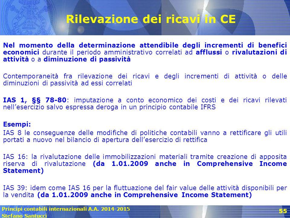 Principi contabili internazionali A.A. 2014-2015 Stefano Santucci 55 Rilevazione dei ricavi in CE Nel momento della determinazione attendibile degli i